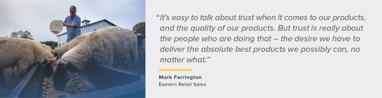 quote about performance from Mark Farrington, Eastern Retail Sales