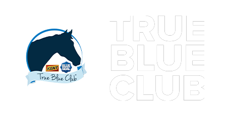 True Blue Club logo - horse heard with Kent and Blue Seal logos